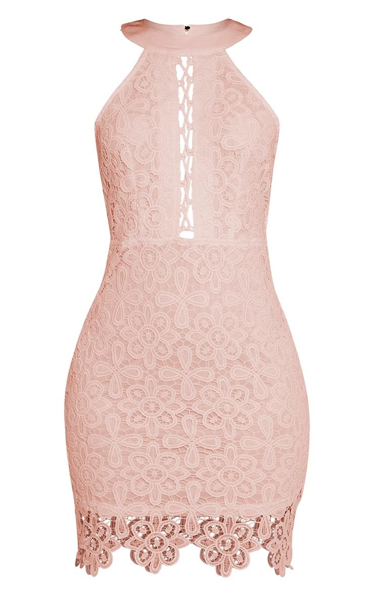 Leliana Pink Crochet Lace Neck Detail Bodycon Dress 3