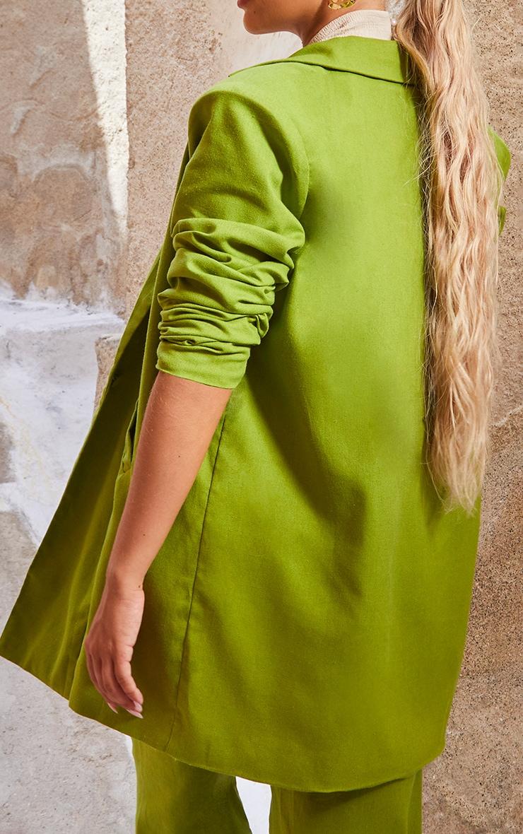 Olive Linen Look Oversized Blazer 2