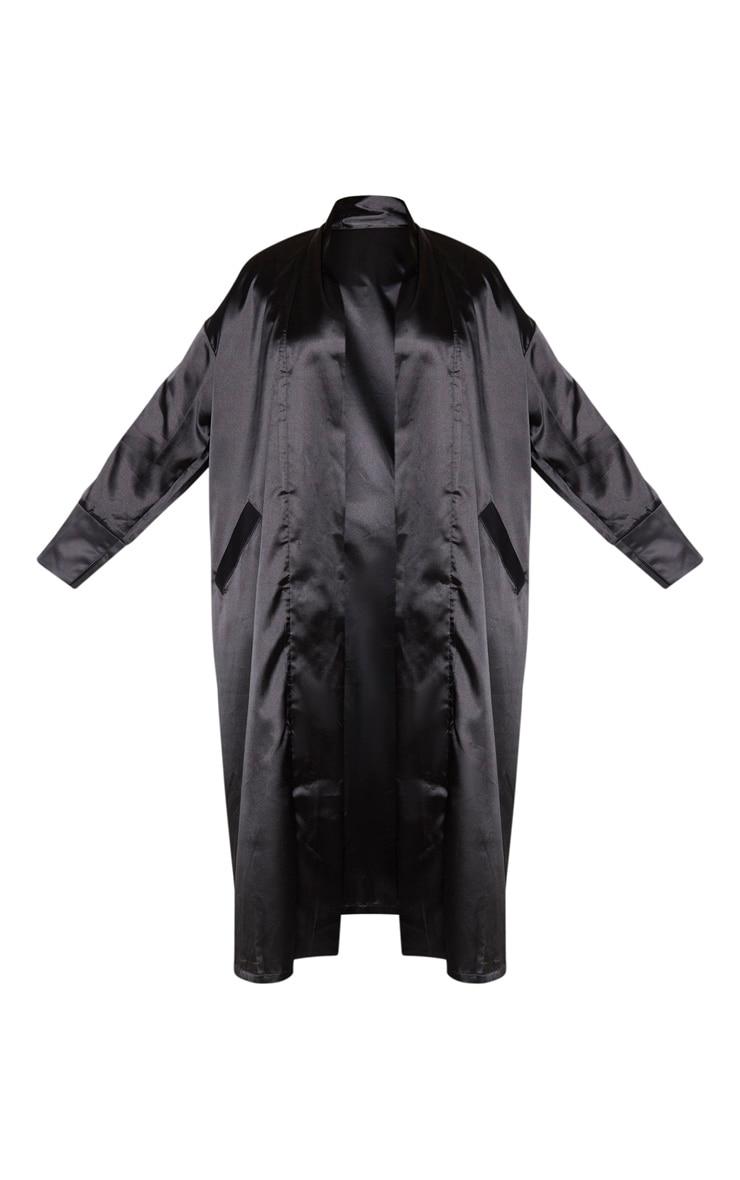 Plus Black Satin Contrast Detail Kimono 6