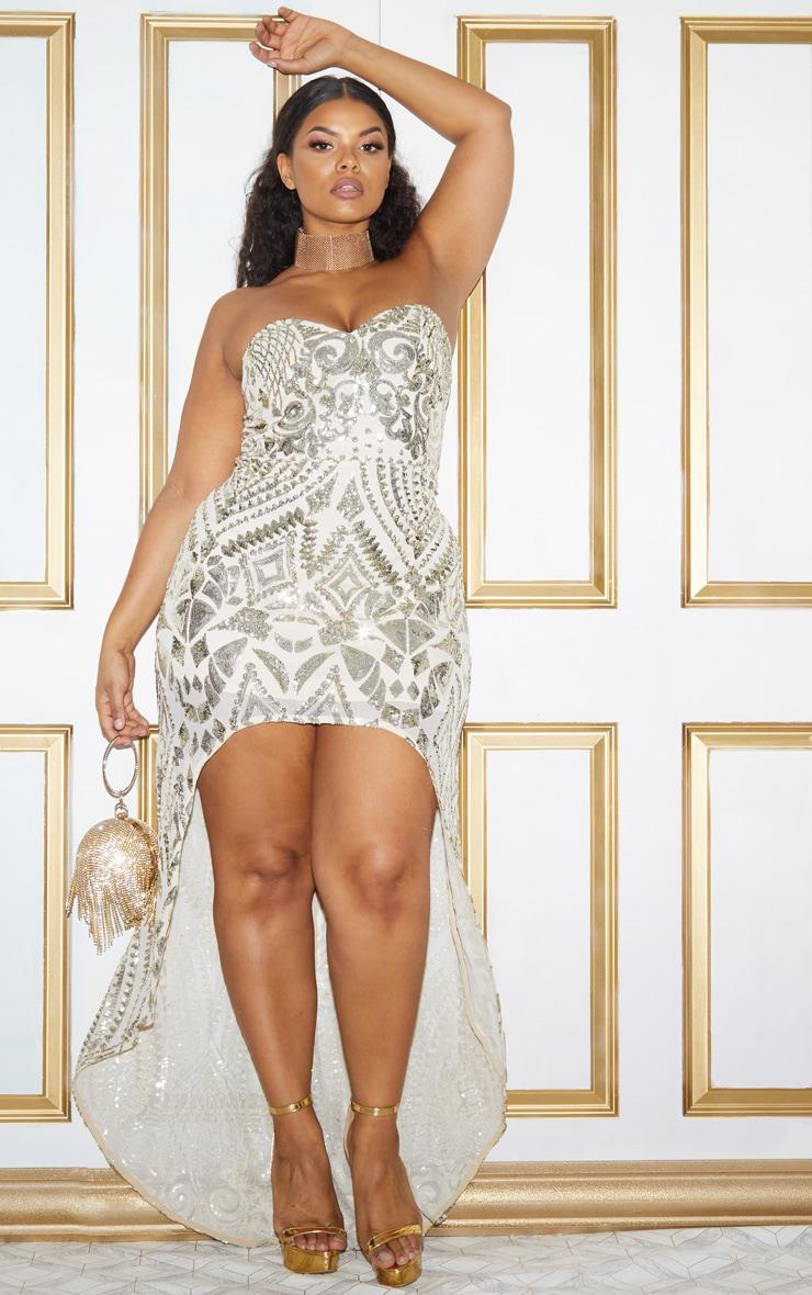 Plus Gold Sequin Bandeau Asymmetric Hem Maxi Dress 3