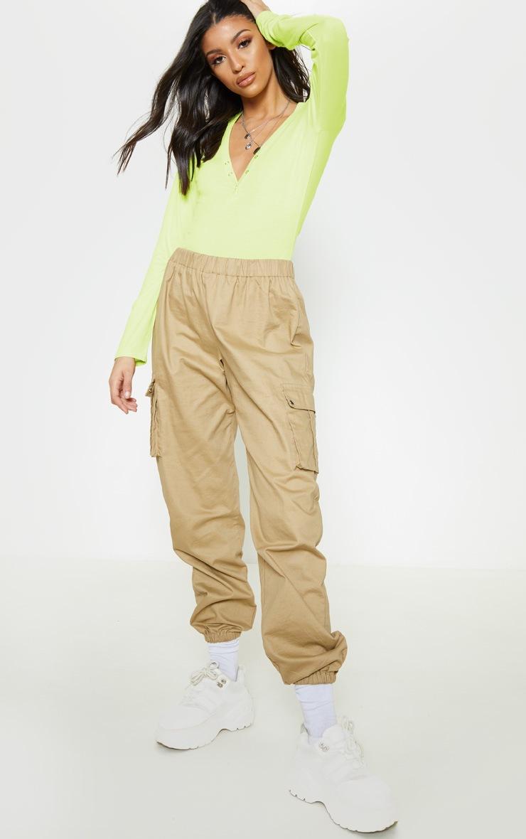 Lime Long Sleeve Popper Detail Thong Bodysuit 5