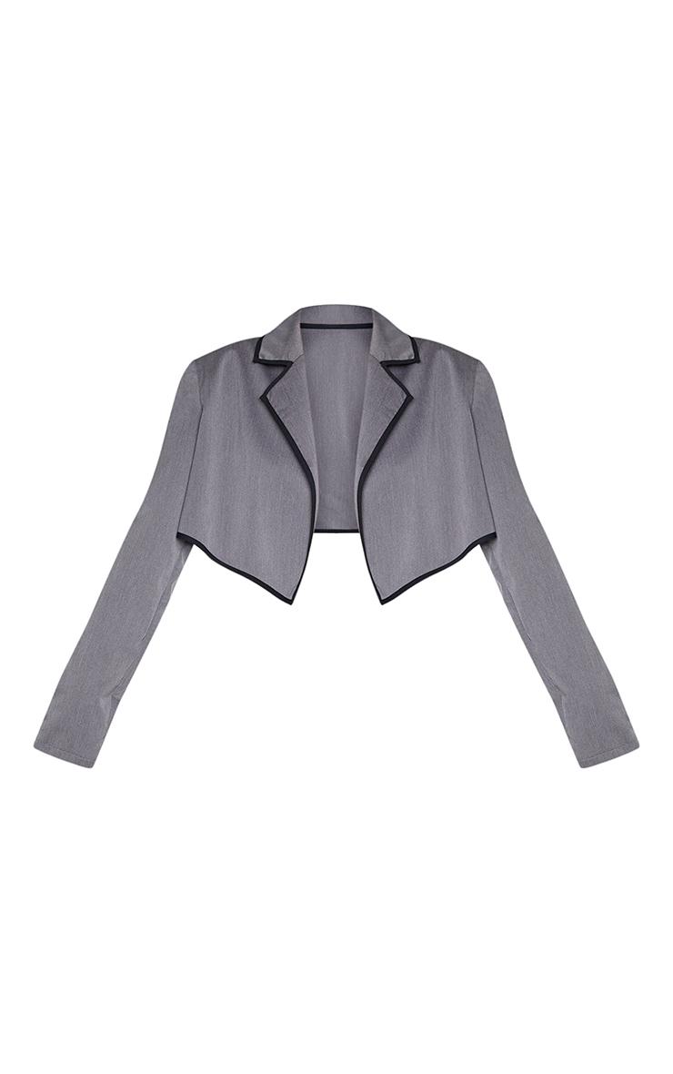 Charcoal Grey Woven Contrast Binding Oversized Cropped Blazer 5