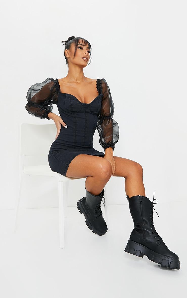 Black Organza Sleeve Denim Dress 1
