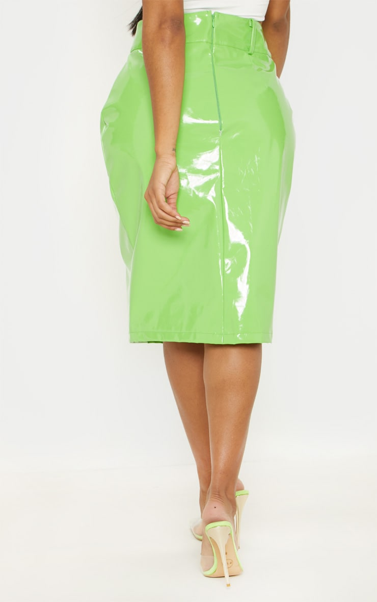 Shape Neon Lime PU Button Front Midi Skirt  4