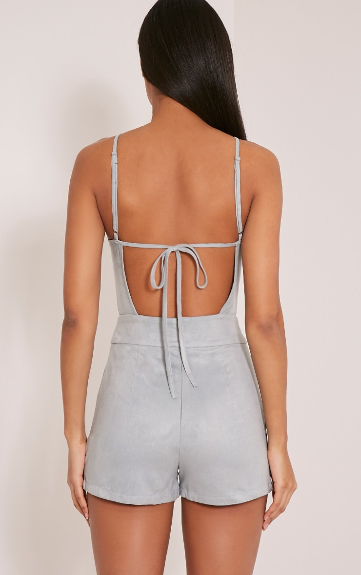 Adia Dusty Blue Suede Cut Out Playsuit 2