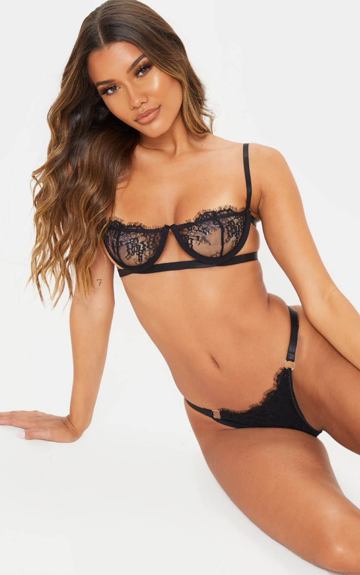 Black Ring Detail Underwired Lingerie Set 6