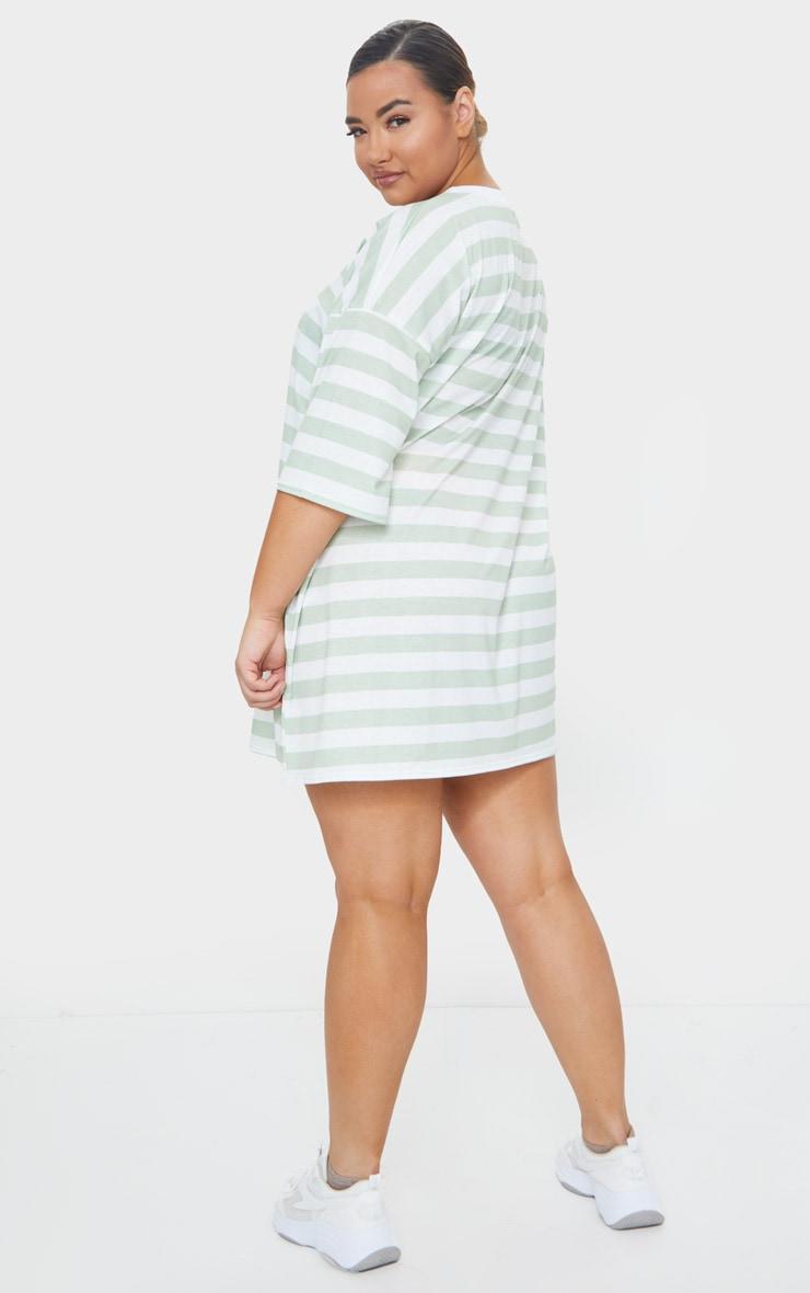 Plus Sage Green Contrast Stripe Oversized Boyfriend T Shirt Dress 2