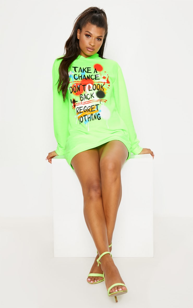Neon Green Graffiti Slogan Oversized Hoodie Jumper Dress
