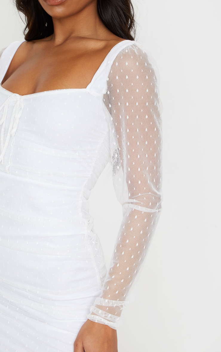 White Dobby Mesh Ruched Long Sleeve Midi Dress 5