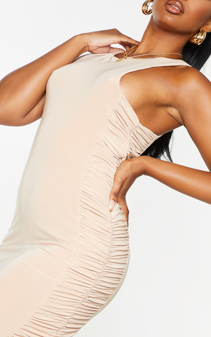 Stone Slinky Racer Neck Ruched Side Bodycon Dress 4