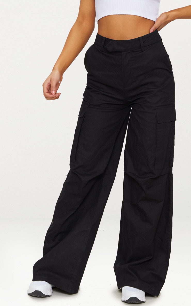 Black Wide Leg Cargo Pants 2
