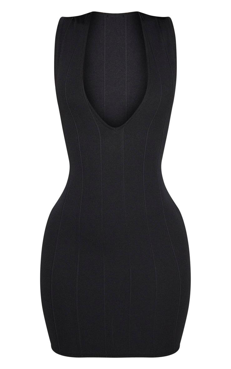 Shape - Robe moulante bandage noire à décolleté plongeant 3