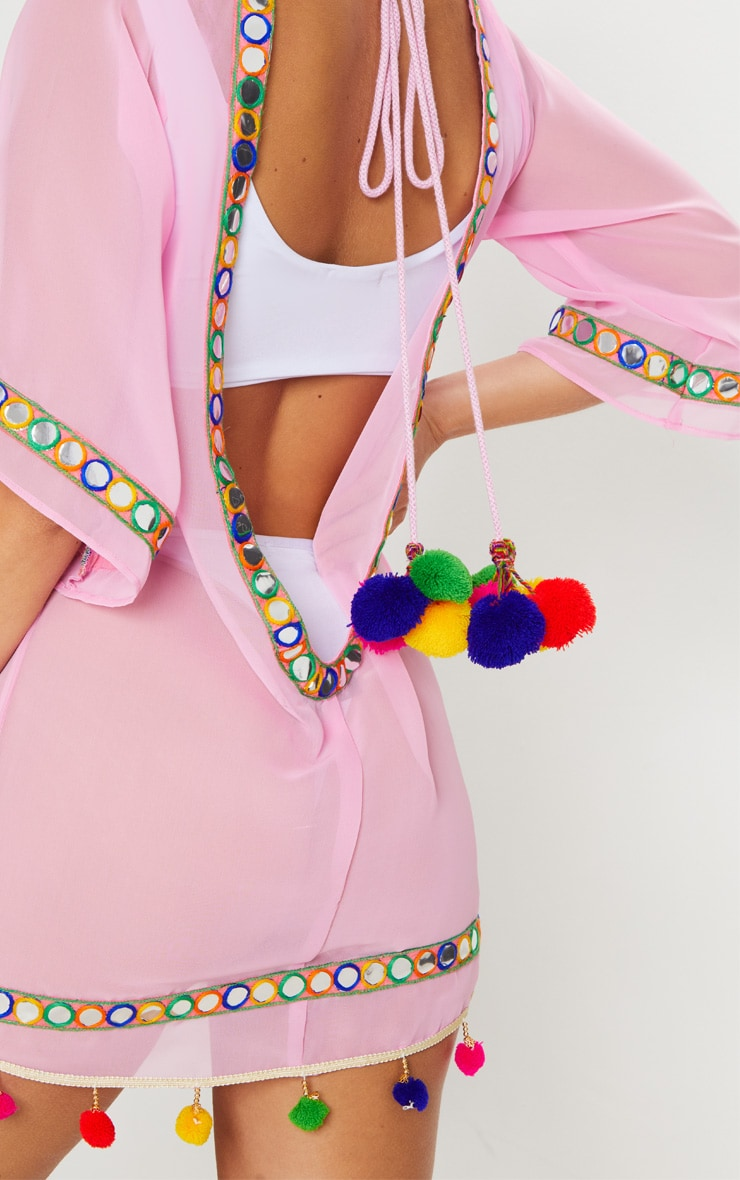 Pink Scoop Back Pom Pom & Mirror Trim Beach Dress 5