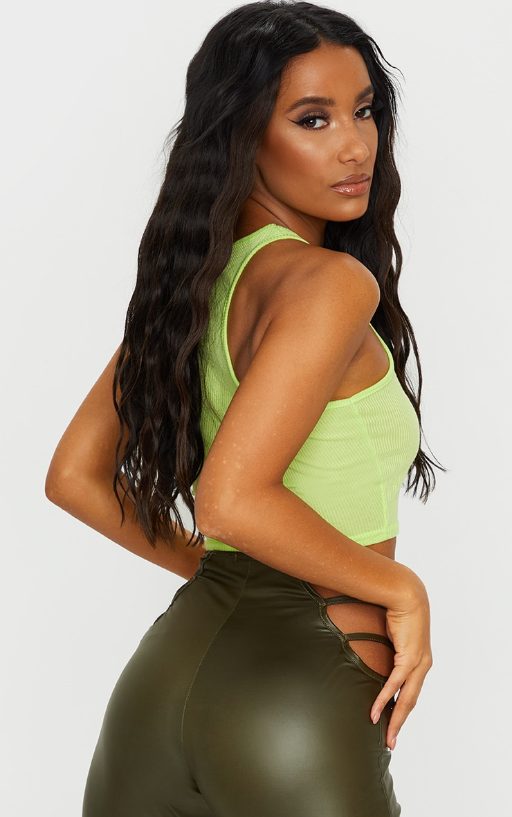Lime Green Rib Racerback Crop Top 2