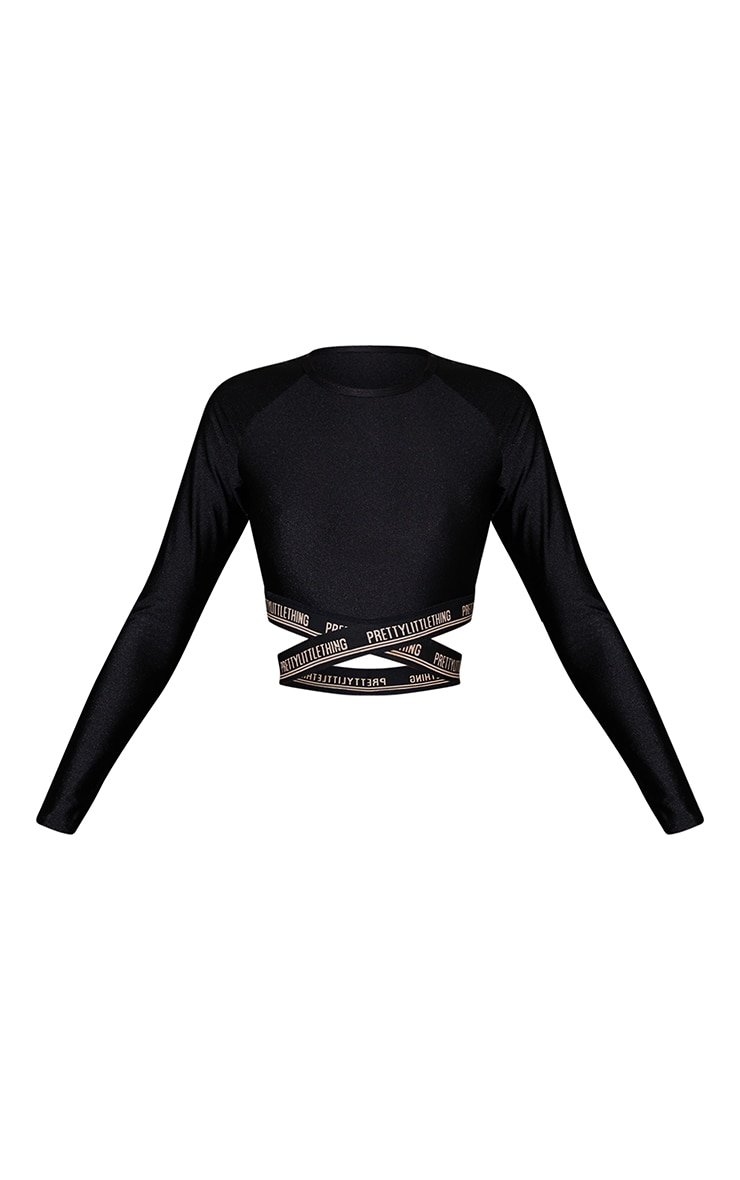 PRETTYLITTLETHING Black Cross Front Long Sleeve Gym Top 5