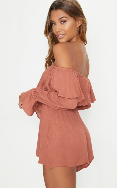 Tobacco Cheesecloth Bardot Playsuit
