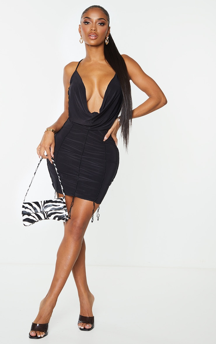 Shape Black Slinky Overlock Cut Out Back Cowl Bodycon Dress 3