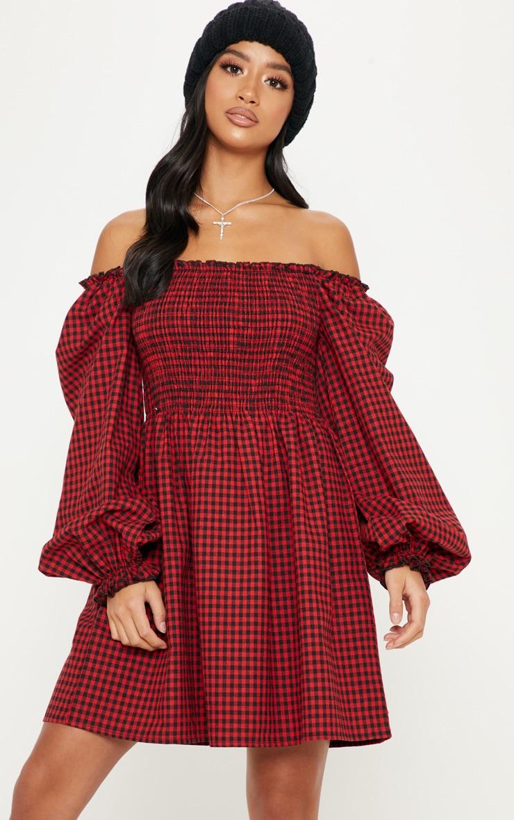 Petite Red Gingham Bardot Shirred Skater Dress 4
