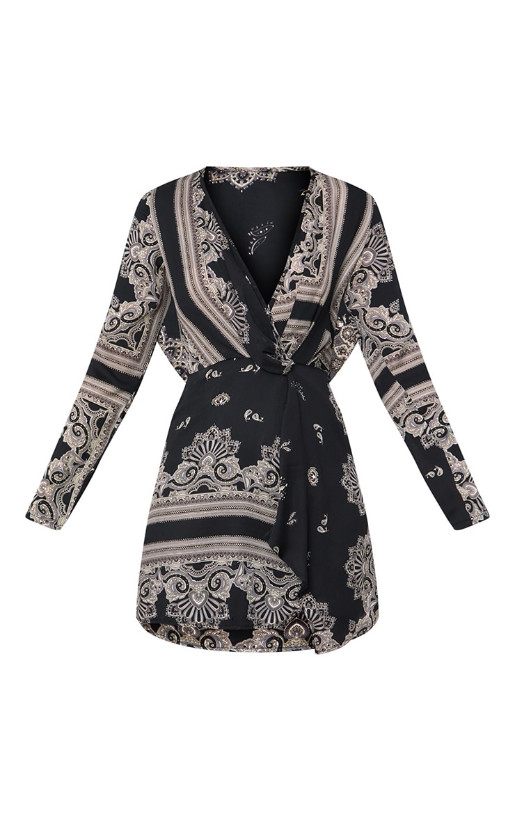 Black Printed Silky Long Sleeve Wrap Dress 3