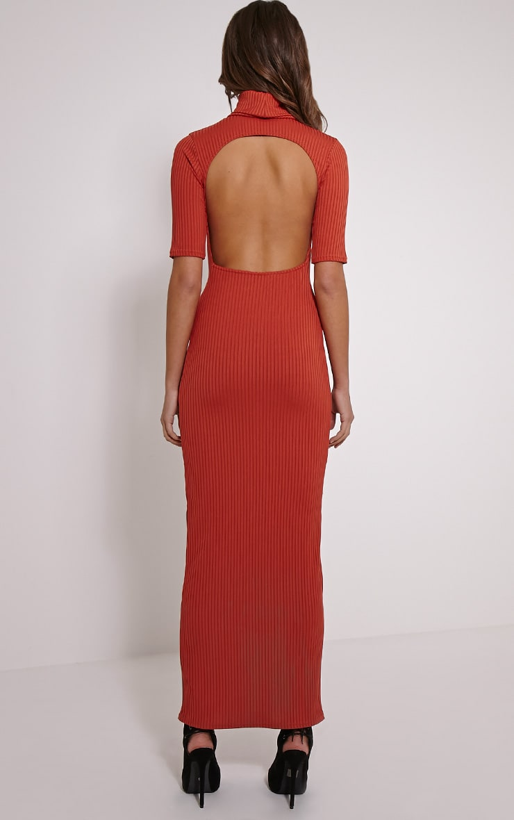 Daria Rust Open Back Ribbed Maxi Dress 2
