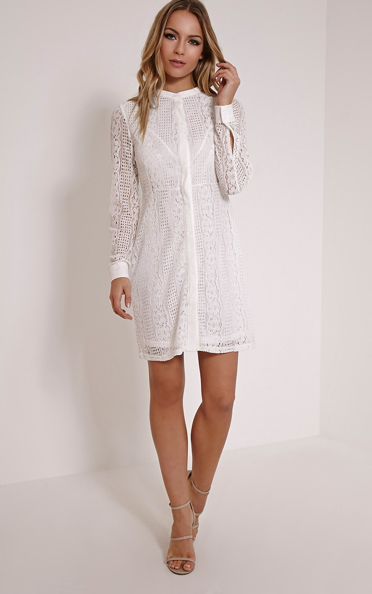 df5cc831c118 Maisi White Long Sleeve Lace Shirt Dress image 1