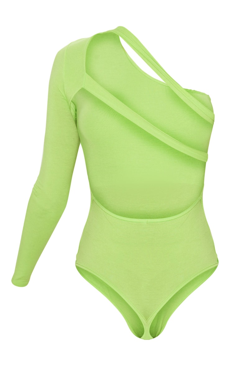 Lime Jersey One Shoulder Cut Out Bodysuit 4