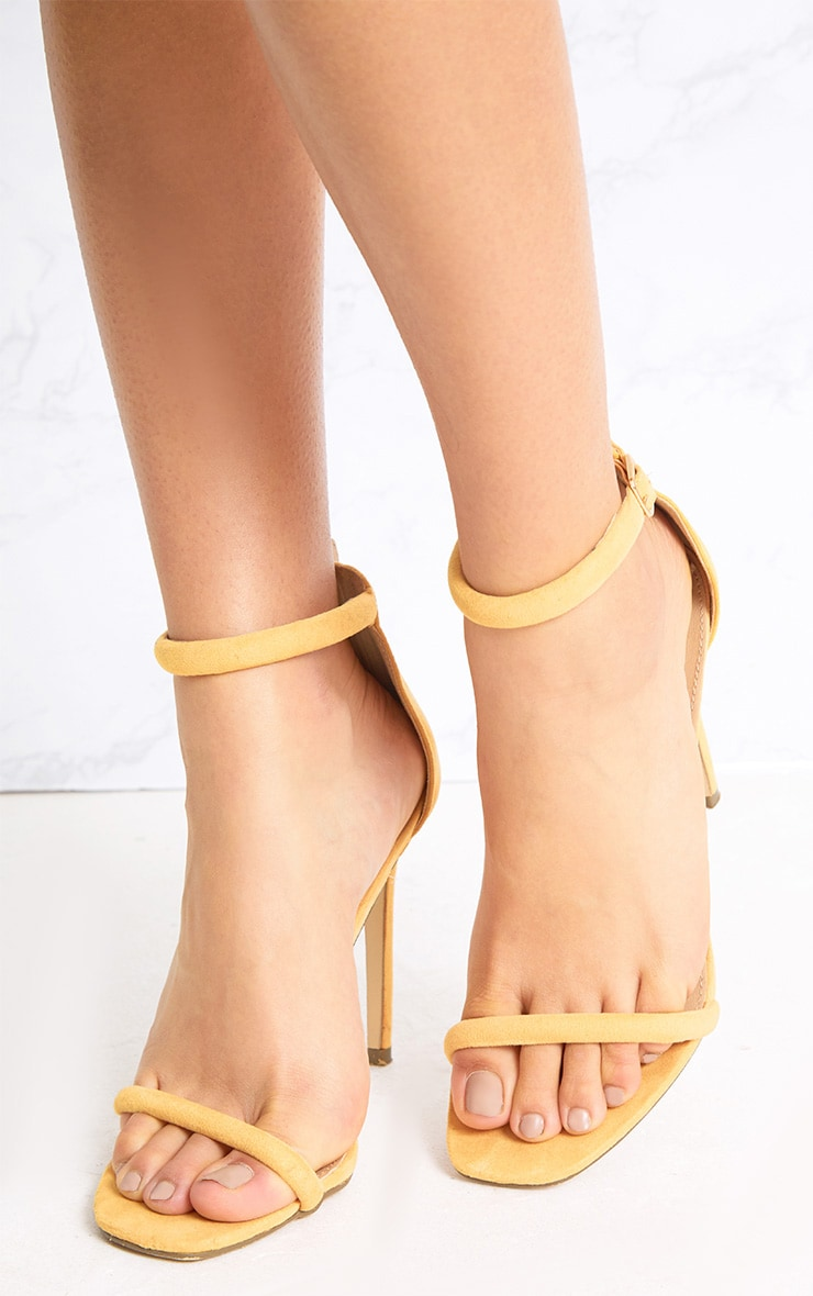 Ruby Yellow Square Toe Strappy Heels 2