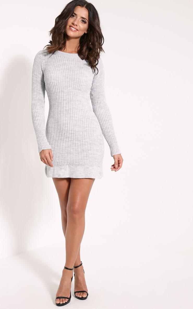 Laney Light Grey Marl Knitted Frill Hem Dress 4