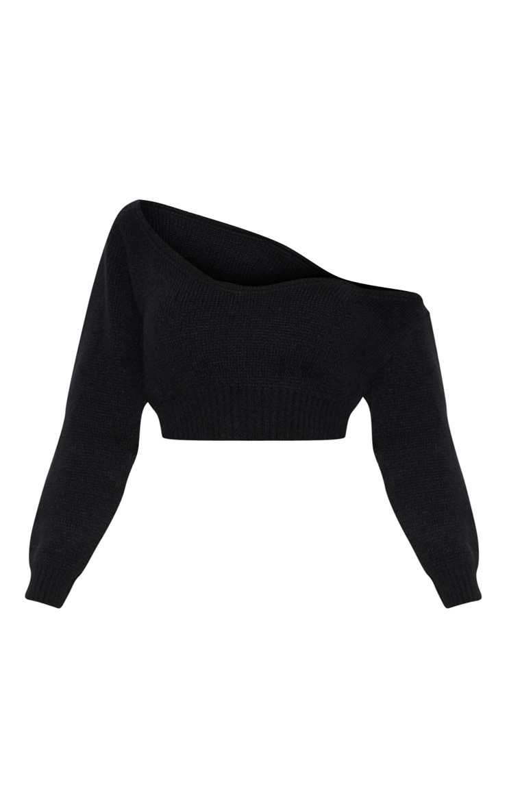 Adelaida Black Off Shoulder Knitted Crop Jumper  3