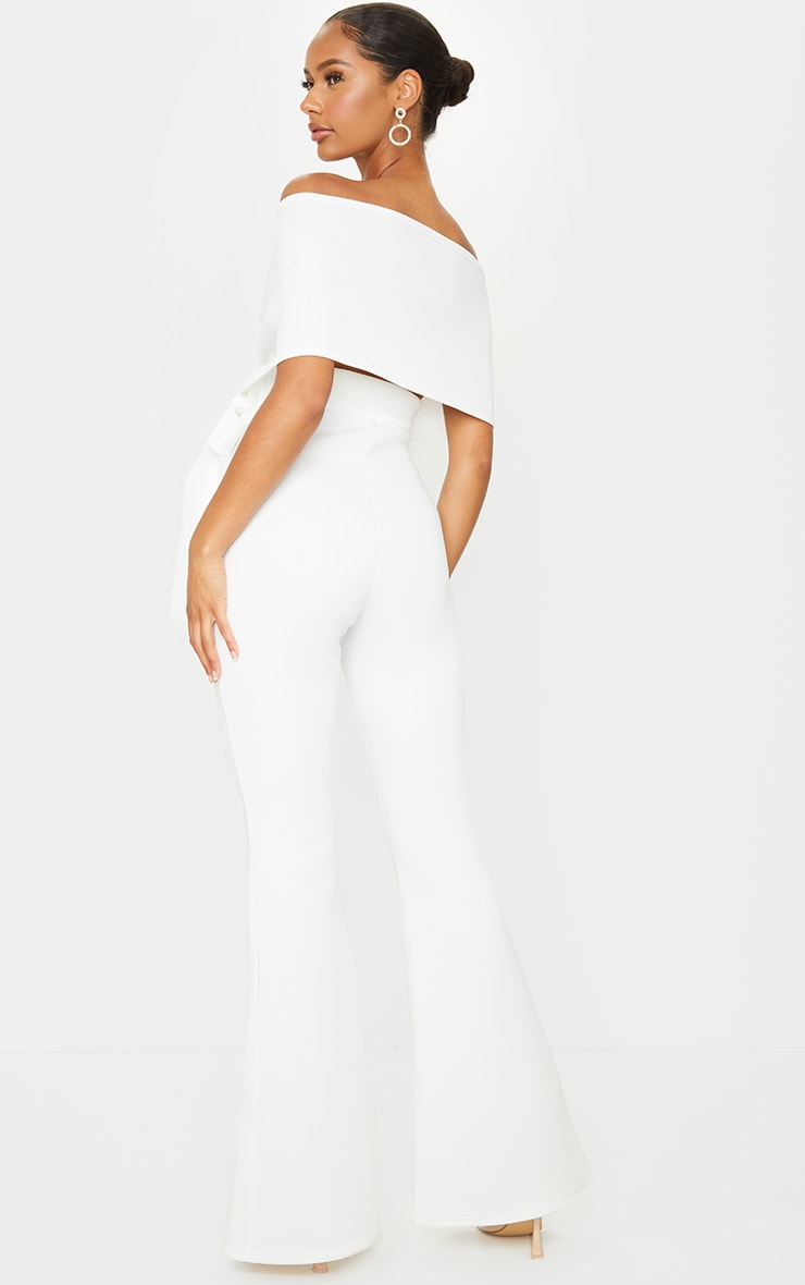 White Bardot Flared Leg Bonded Scuba Jumpsuit 2