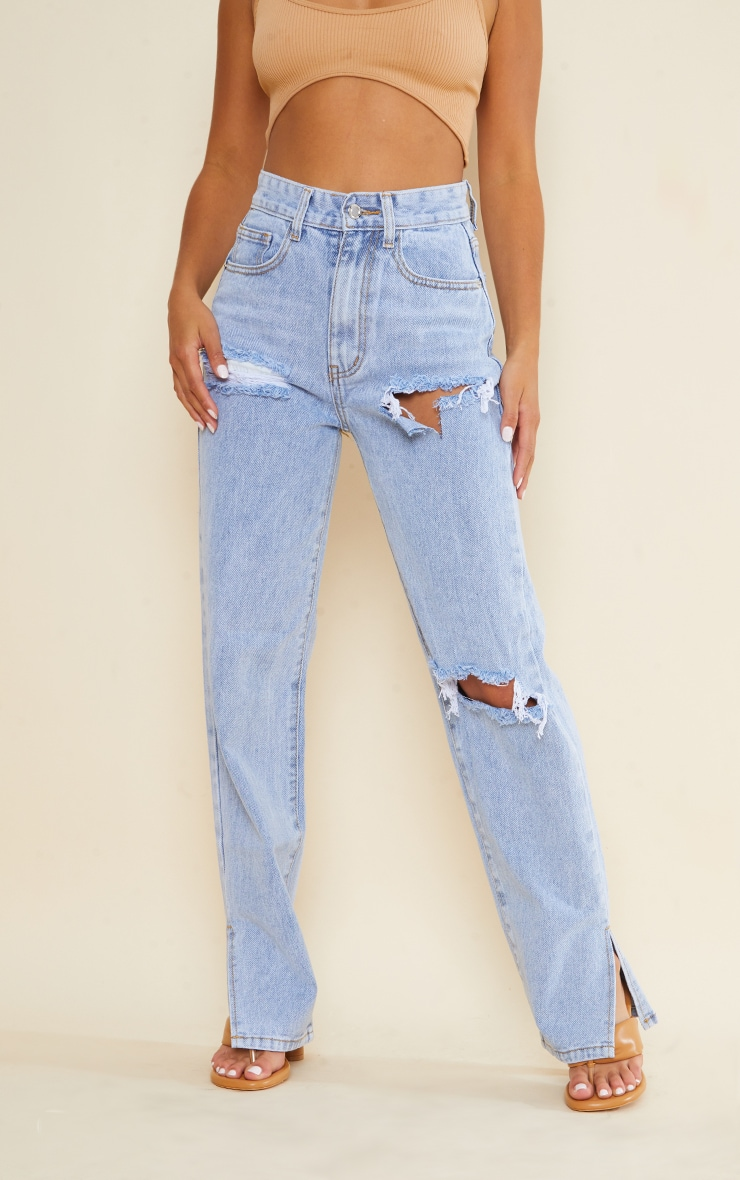 Petite Bleach Wash Ripped Split Hem Jeans 2