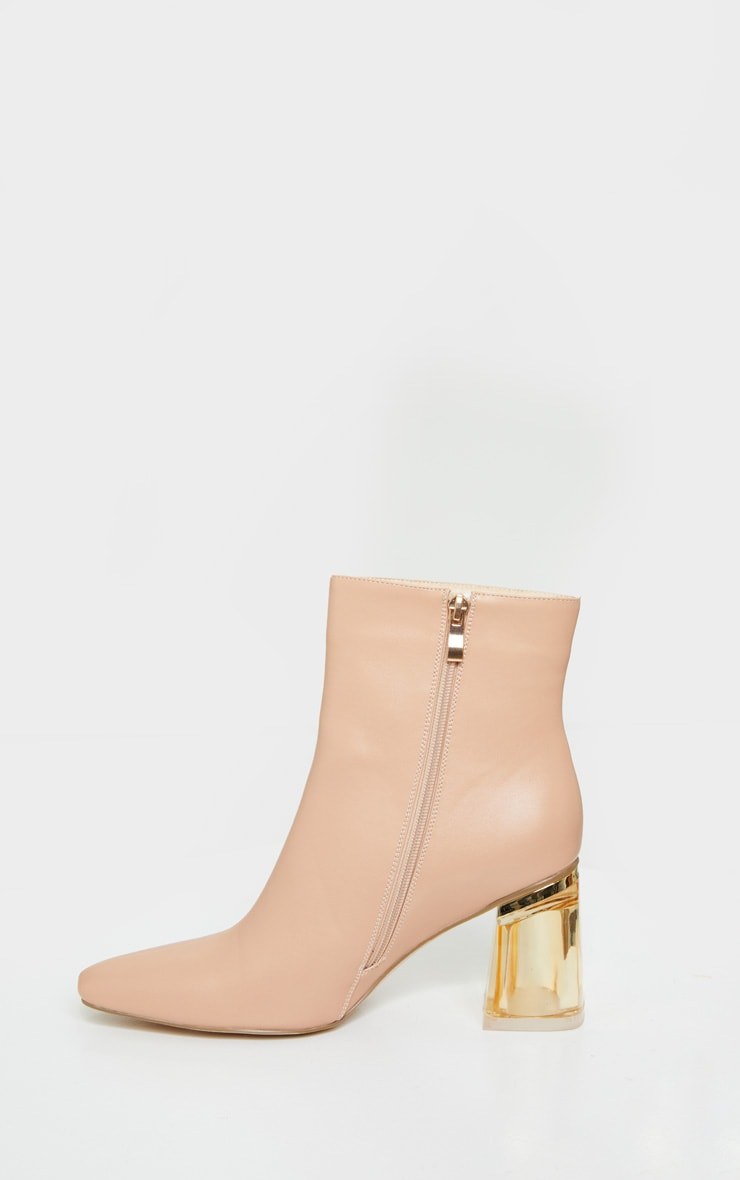 Nude Clear Block Heel Ankle Boot 4