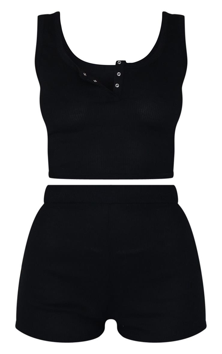 Black Rib Button Down Shorts PJ Set 5
