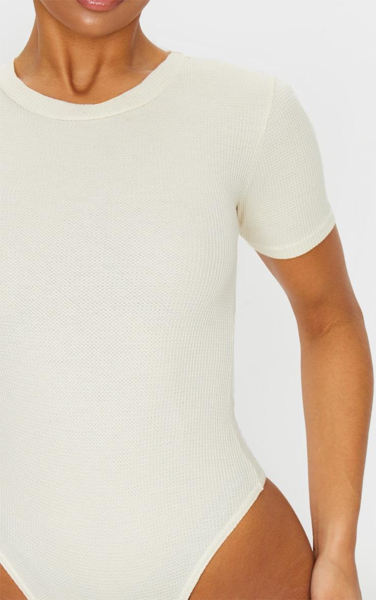 Sand Waffle Knit Short Sleeve Bodysuit 3