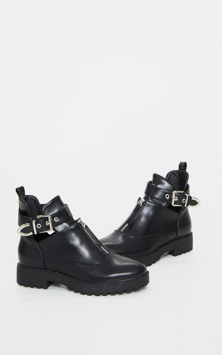 Black Zip Front Buckle Ankle Boot 5