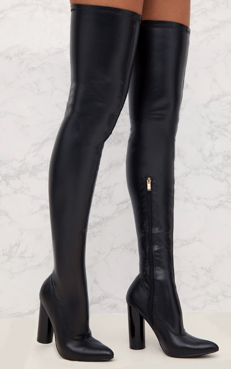 Black Black PU Thigh Boot 1