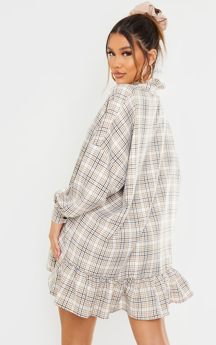 Stone Check Print Frill Hem Collar Detail Shirt Dress 2