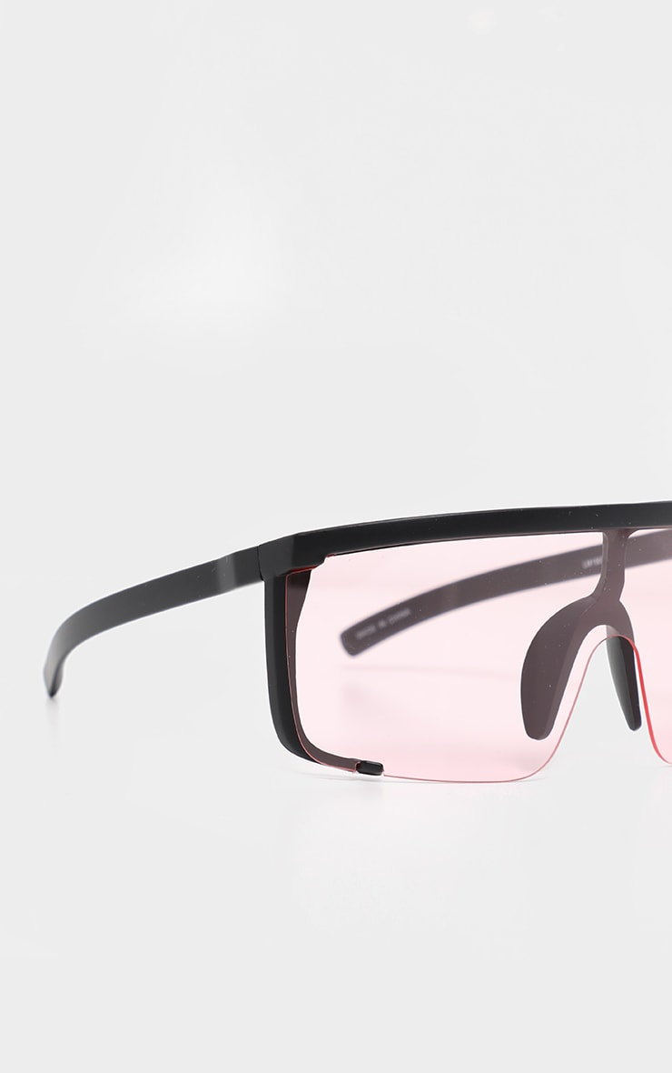 Pink Semi Frame Visor Sunglasses 3