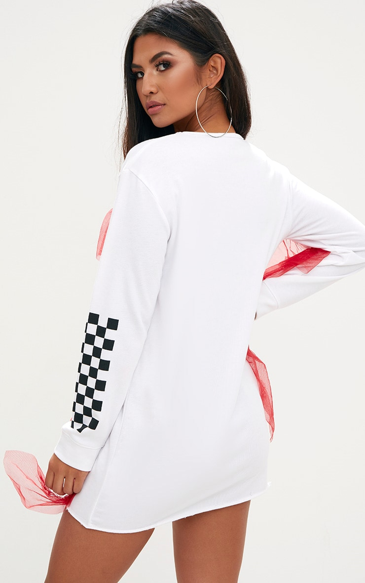 White Loop Back Printed Mesh Frill Sweater Dress 2