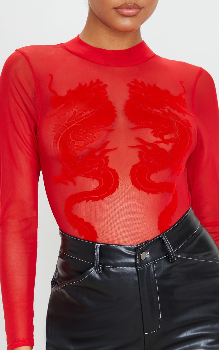 Red Dragon Printed Mesh Bodysuit 6