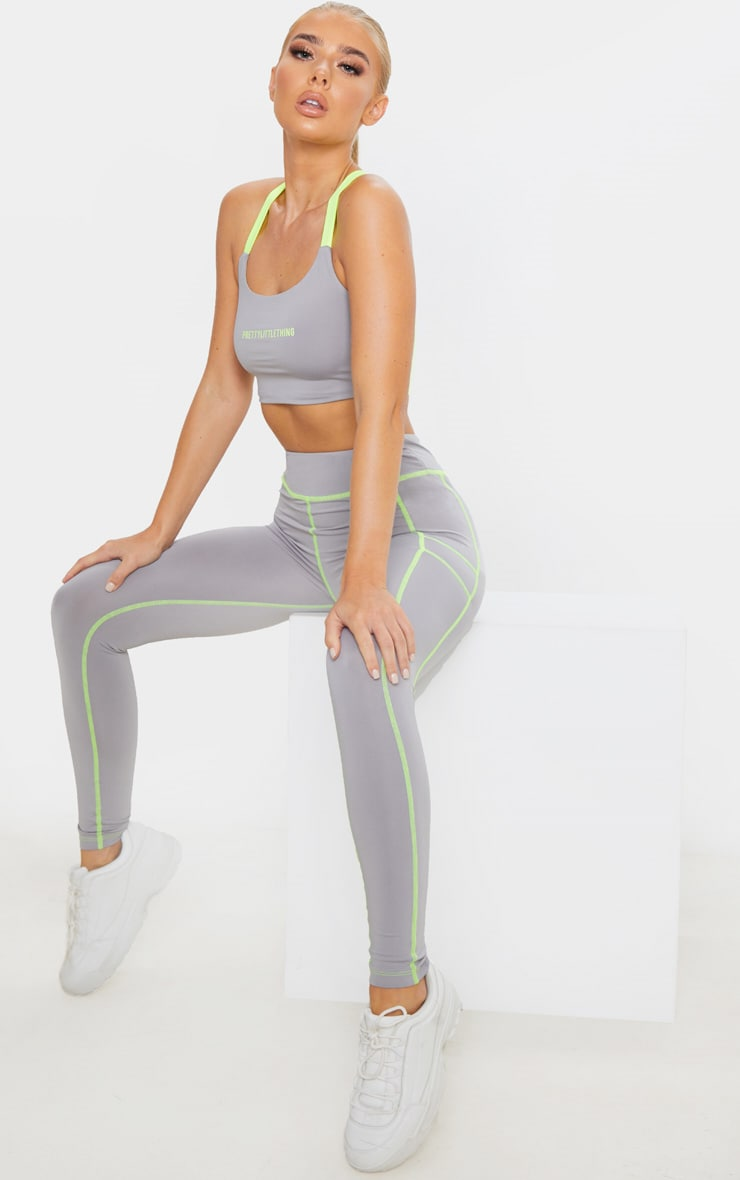 PRETTYLITTLETHING Grey Contrast Sports Crop Top 4