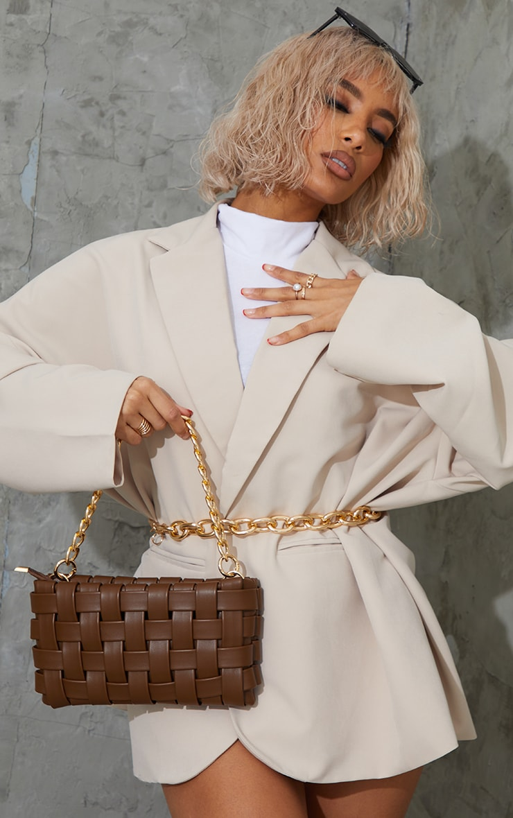 Chocolate Oversized Weave With Gold Chain Shoulder Bag 1
