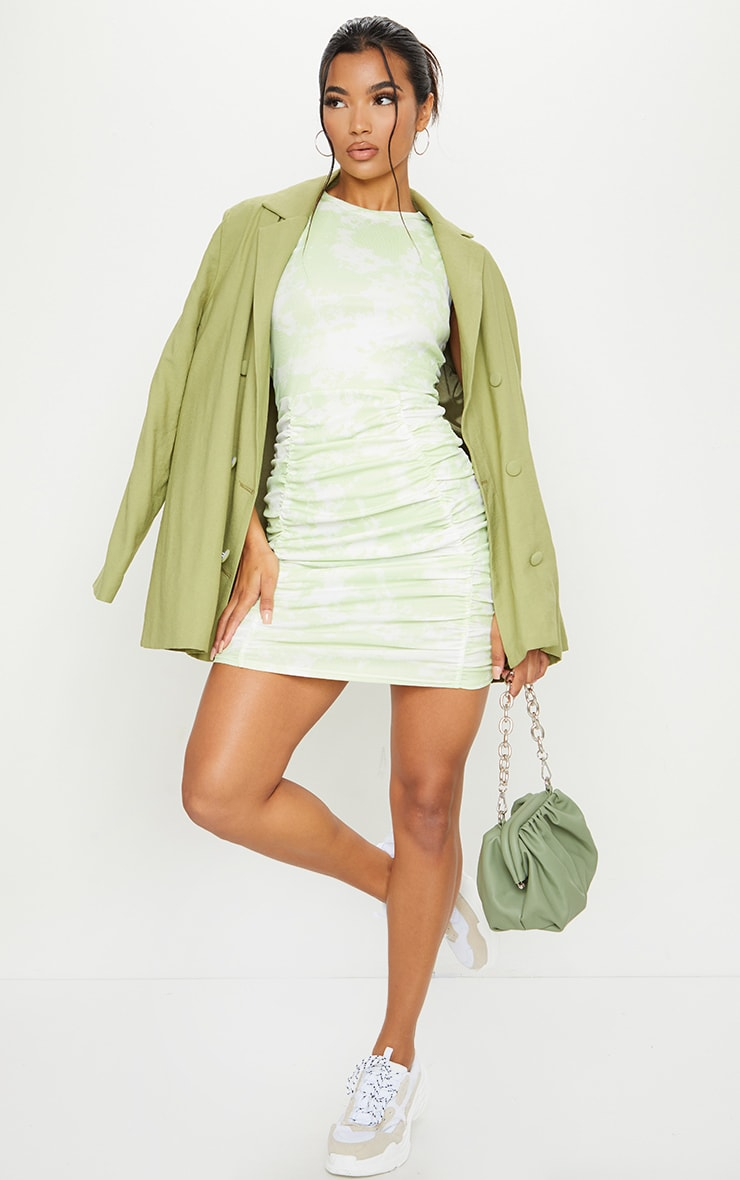 Lime Ribbed Tie Dye Ruched Sleeveless Bodycon Dress 3