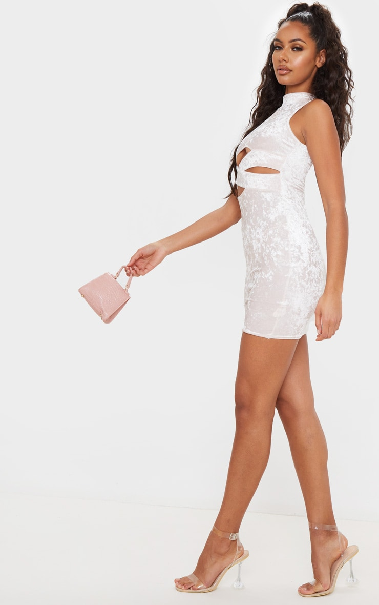 Baby Pink  Crushed Velvet Cross Front Bodycon Dress 4