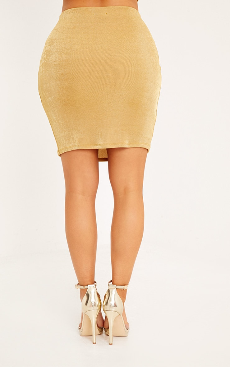 Shape Lyndsey Gold Slinky Mini Skirt Co-Ord 4