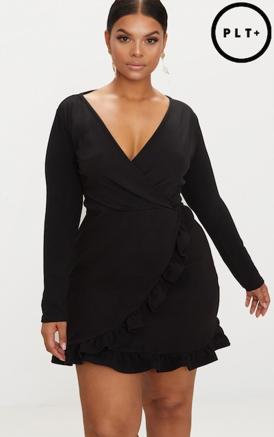 527d9db5ba1 Plus Black Long Sleeve Ruffle Wrap Dress
