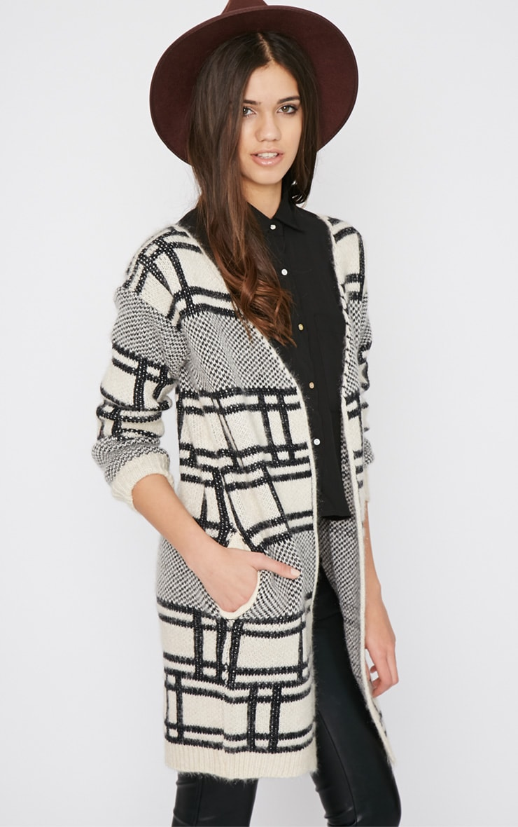 Anette White Block Print Fluffy Cardigan  4