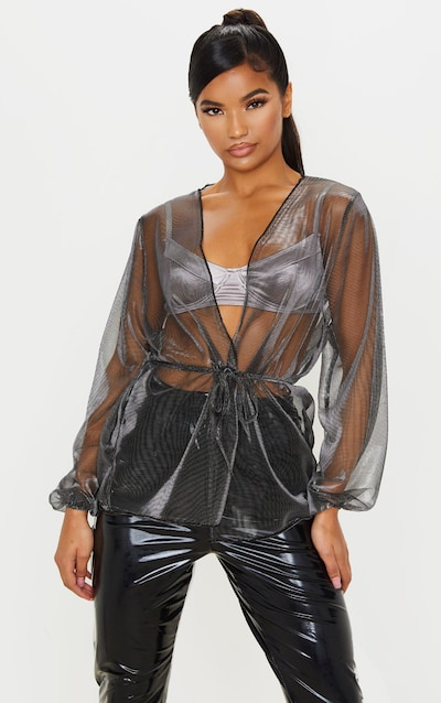Silver Metallic Tie Front Blouse