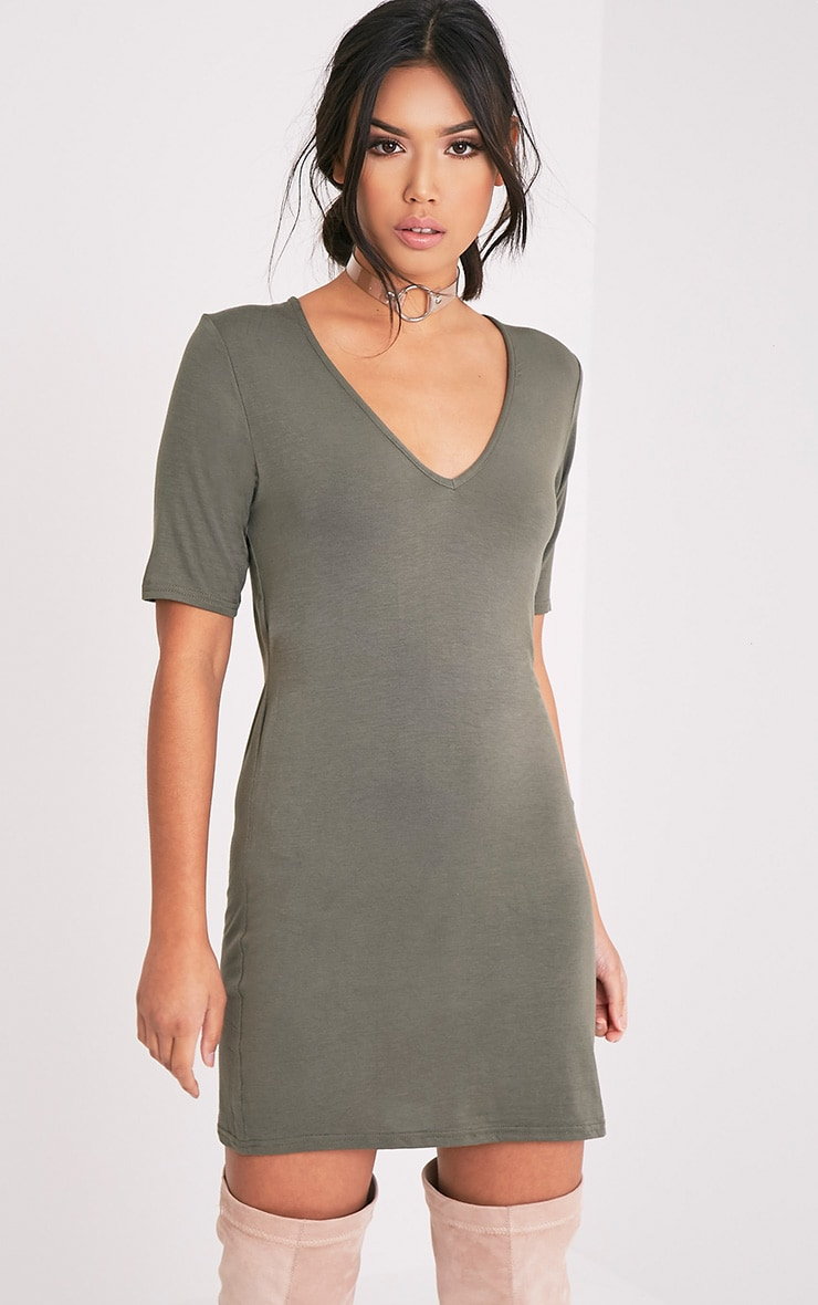 Basic Khaki Plunge V Neck T Shirt Dress 1