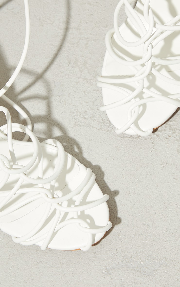 White PU Cage Detail Circle High Heeled Sandals 4